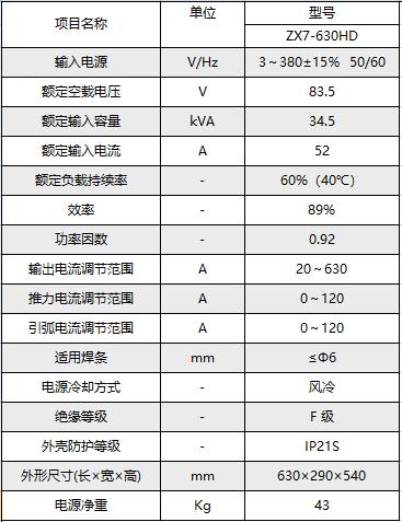 ZX7-630HD 参数