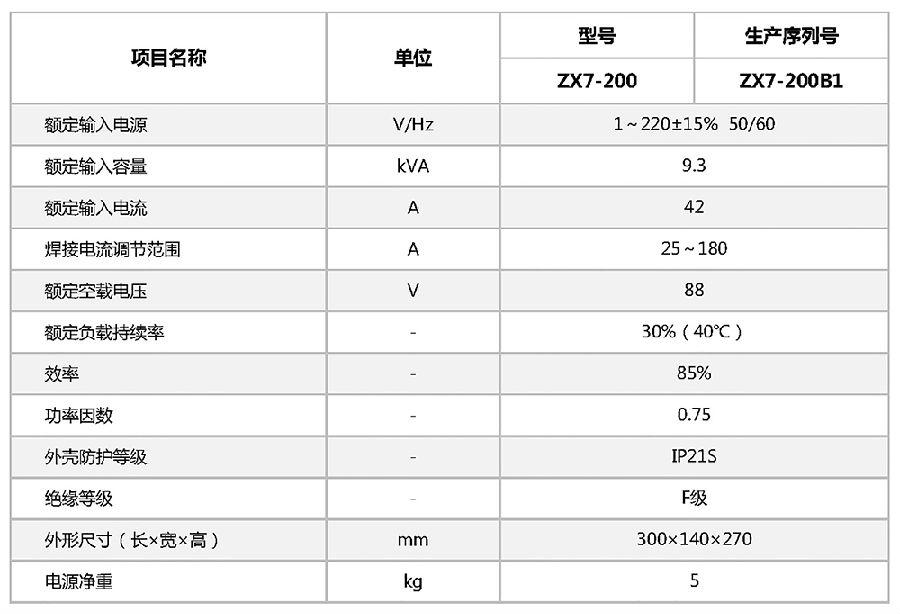 ZX7-200 逆变式直流弧焊机参数