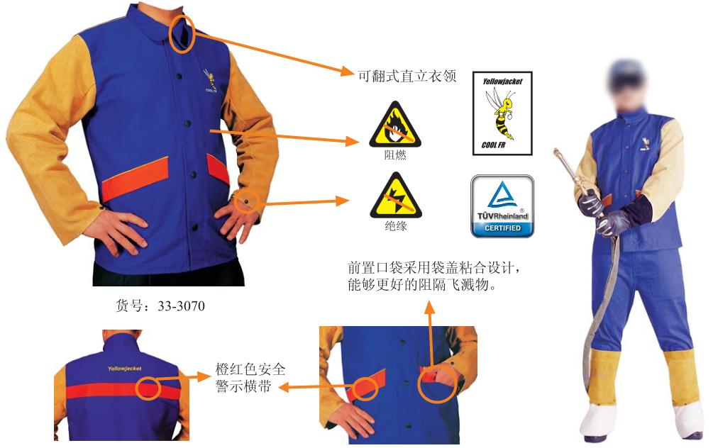 雄蜂王时尚防火阻燃布焊工服